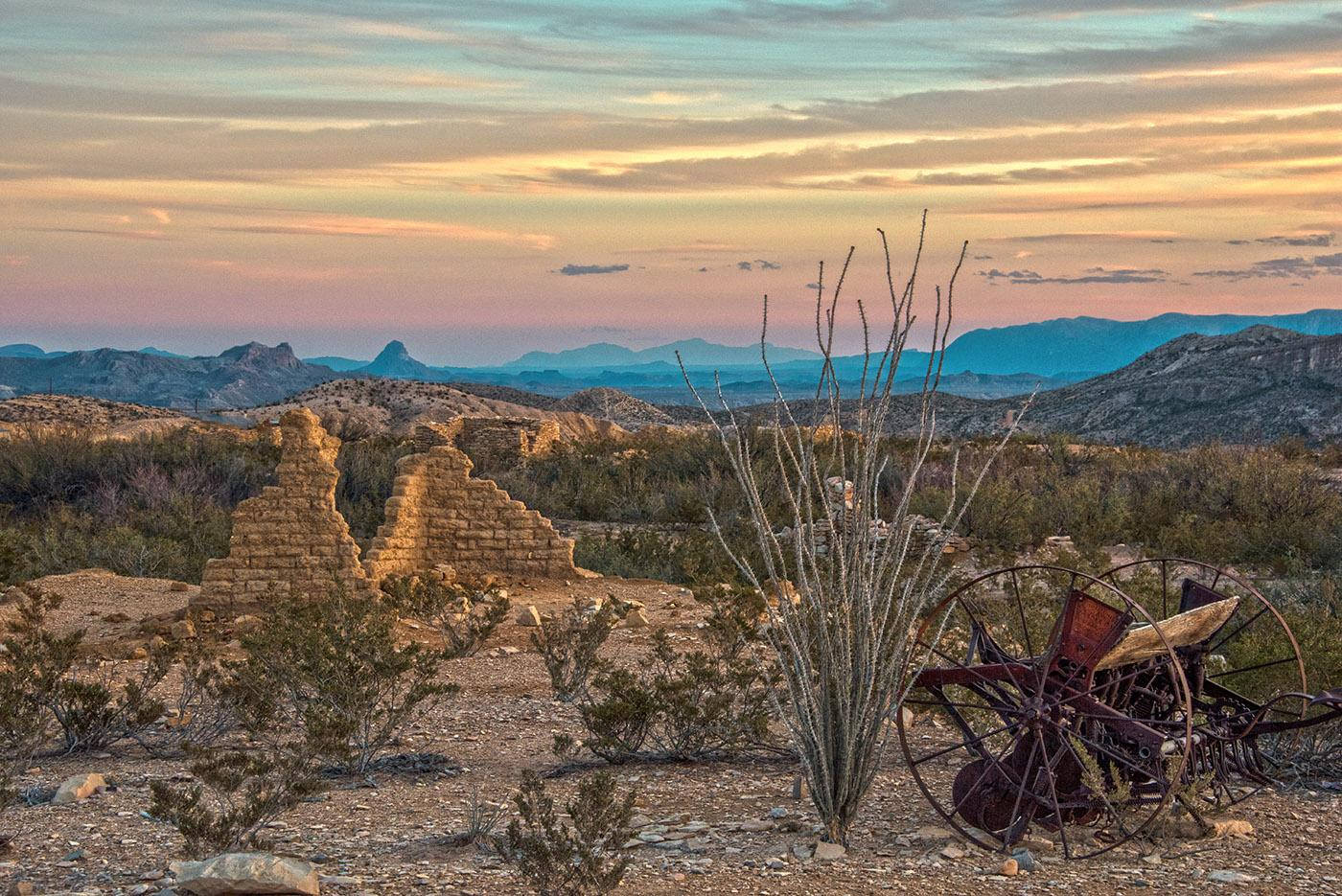 Days - West Texas Hill Country landscape with sunset, flora, and wagon wheels