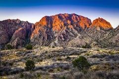 Untitled 5141R - Orange & purple mountain landscape w/ brush, tree, & blue sky