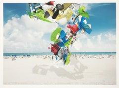 Sunshine POP: South Beach 5 - White sand Miami Beach w/ collage tornado