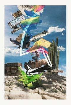 Desert POP: Joshua Tree Park 2 - Western cowboy collage w/ horse & bald eagle