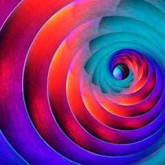 The Widening Gyre - Rainbow textured spiral light abstract, inspired by Yeats
