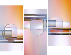 The Hydraulics of Color - Pink & orange abstract light triptych