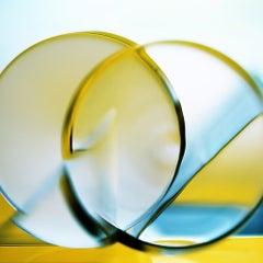 Angular Velocity - Bright blue & yellow geometric light abstract with circles