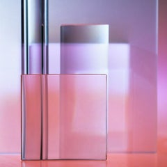 Reflections on the Square - Pink & purple light abstract with geometric squares