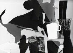 Recorte #2 - Black, gray, & white abstract cut-out collage w/ dog & coffee mugs
