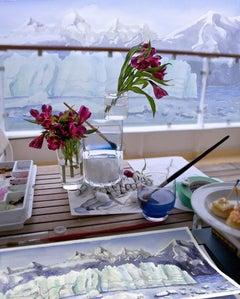 Alaskasnacks - Blue & white artist studio still life w/ ice glaciers & flowers