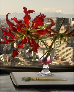 One View Mount Fuji (Tokyo) - Flame lily flower, paintbrush, artist studio still