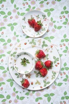 Wedgwood Wild Strawberry with Strawberry - Green & white floral food still life