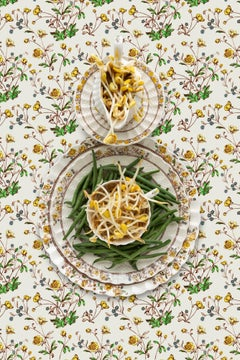 Spode Buttercup with Beans - Green & yellow string beans & sprouts still life