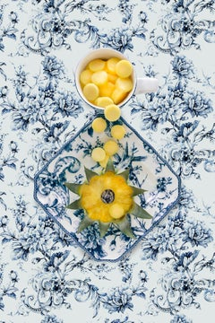 Adelaide Blue with Pineapple - Blue, white & yellow floral food still life
