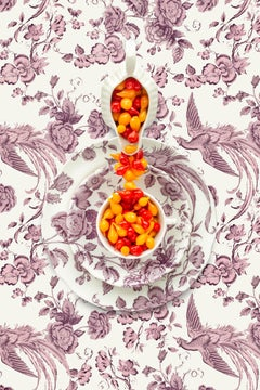 Spode Kingsley with Biquinho Peppers - Pink, red & yellow floral food still life