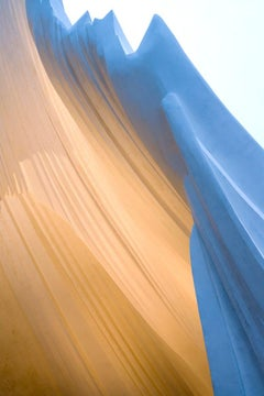 Flow #5 - Minimalistic, textured gold & blue abstract, sweeping arc