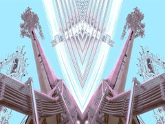 Deco Towers #1 - Retro cyan blue, pink & purple mirrored abstract tower