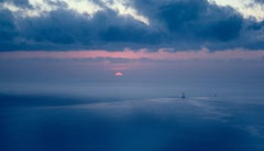 Moving the Rig - Blue & pink sunset water seascape with ship in distance