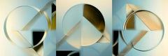 Calculus of Variation - Abstract light blue & yellow triptych glass prism circle