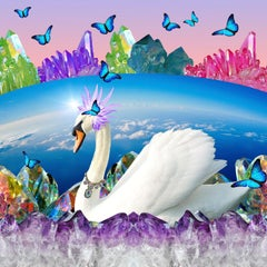 Swan - Jewel tone pop art swan digital collage w/ butterflies & amethyst geodes