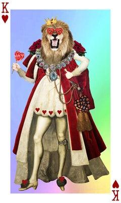 King Lion Heart - King of hearts lion w/ sunglasses, vintage digital collage