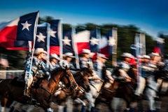 Texas Our Texas - Texan rodeo cowboys horse parade w/ cowboy hats & Texan flag
