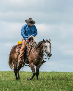 Weary Cowboy - Texas man in blue shirt & gray hat riding brown & white horse