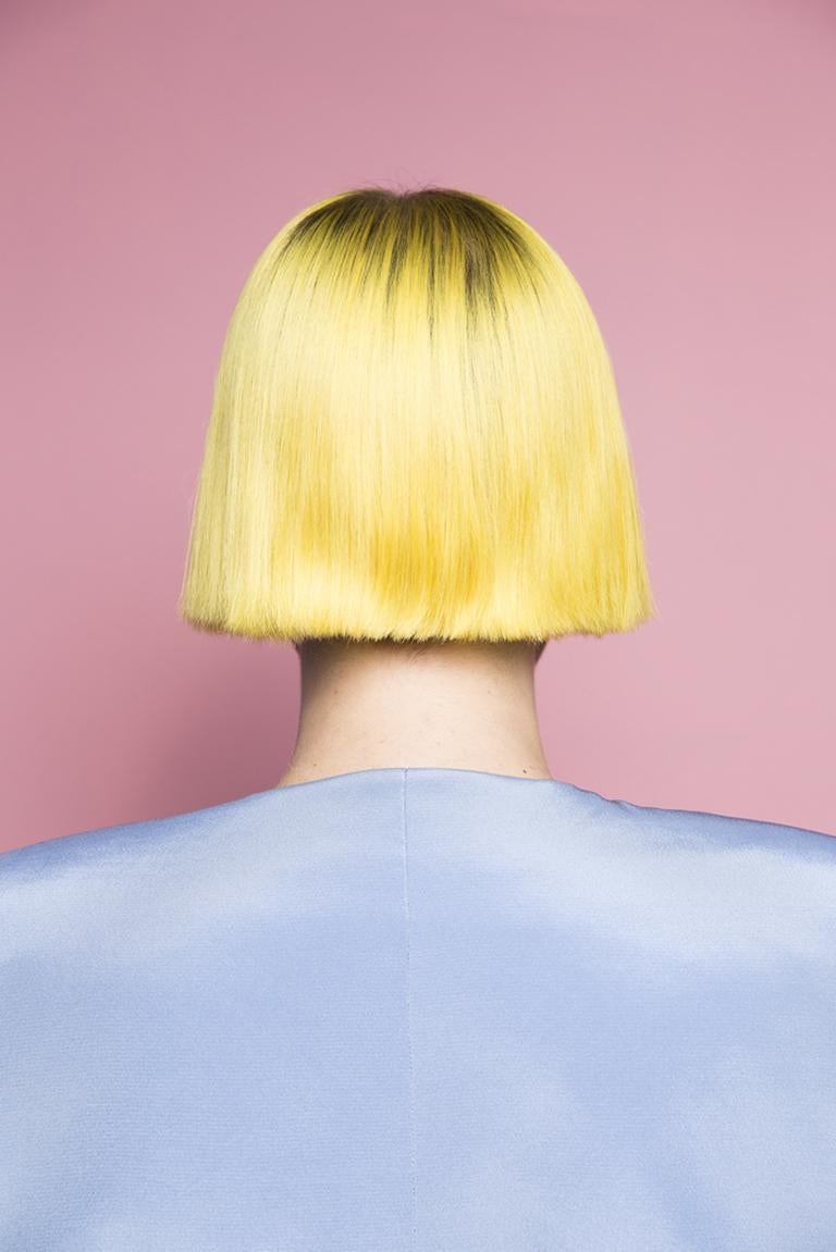 I am Different - Pink, yellow & blue abstract feminist pop portrait from back