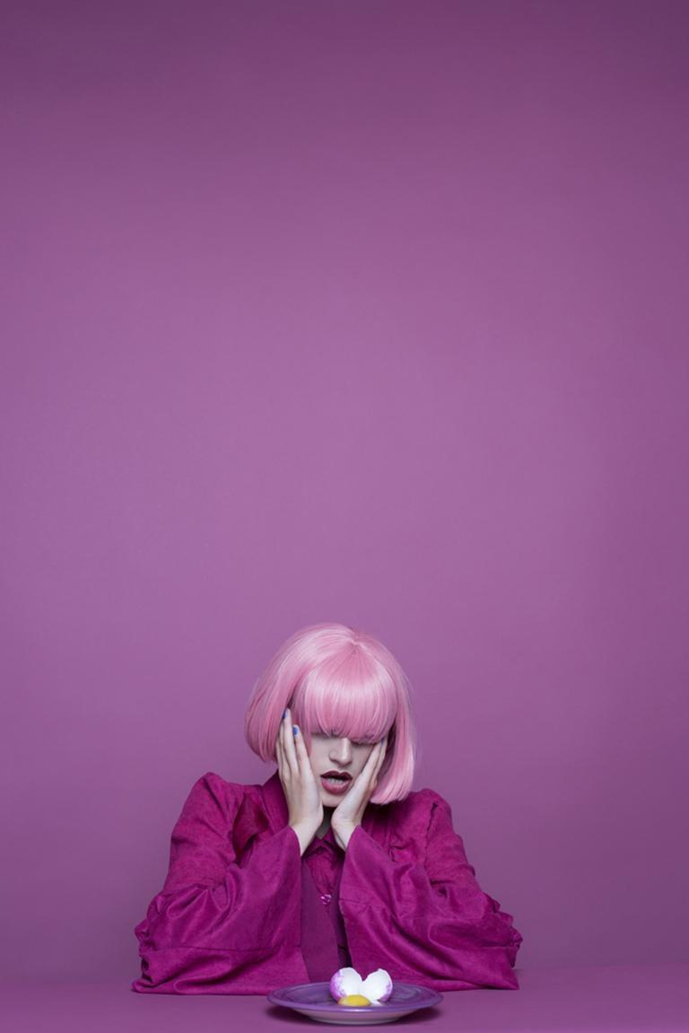 I am the Egg - Purple & pink abstract self-portrait, broken egg & yolk