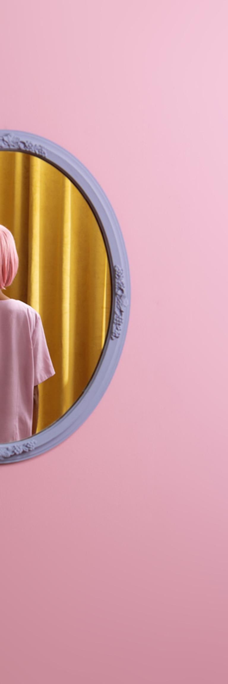 I don't see myself - Abstract pop pink & yellow self-portrait in oval mirror - Contemporary Photograph by Karen Navarro