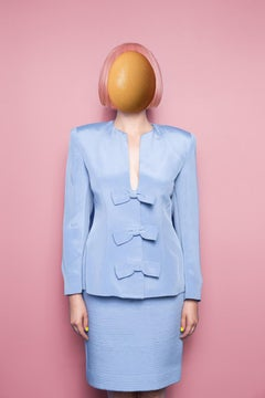 Untitled (egg face) - Surreal, abstract pop pink & blue self-portrait w/ egg