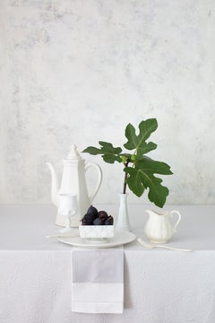 Off White 8 - Still life table setting w/ fig fruit and leaves, white tea set