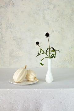 Off White 10 - Still life table setting w/ pumpkins & plant, white tea set