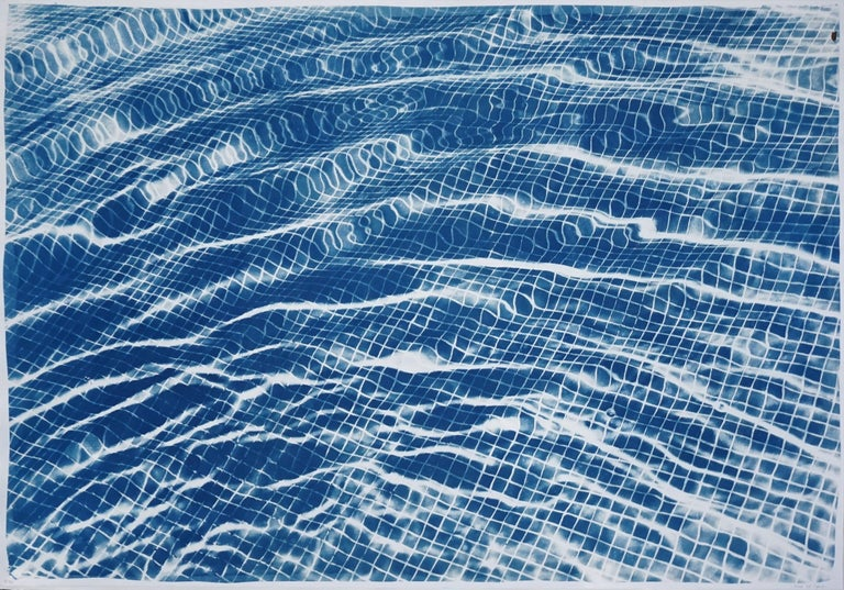 "Kind of Cyan Landscape Print - ""Miami Art Deco Pool"" Cyanotype on Watercolor Paper, 100x70cm, Limited Edition"