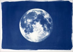 Blue Moon, Cyanotype on Watercolor Paper, 100x70cm, Full Moon Art, Large Print