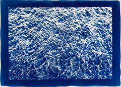 Pacific Ocean Currents, Cyanotype on Watercolor Paper, Blue Border, 100x70cm