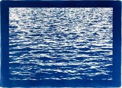 Mediterranean Blue Sea Waves, Blue Border, Cyanotype Print, 100x70cm, Handmade