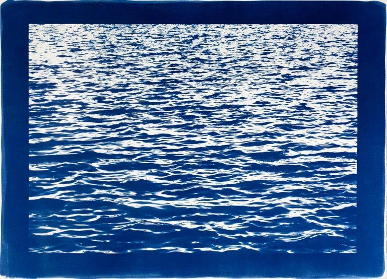Kind of Cyan Landscape Photograph - Mediterranean Blue Sea Waves, Blue Border, Cyanotype Print, 100x70cm, Handmade