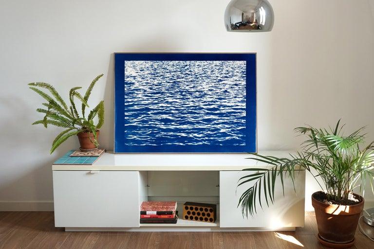 Mediterranean Blue Sea Waves, Blue Border, Cyanotype Print, 100x70cm, Handmade - Photograph by Kind of Cyan