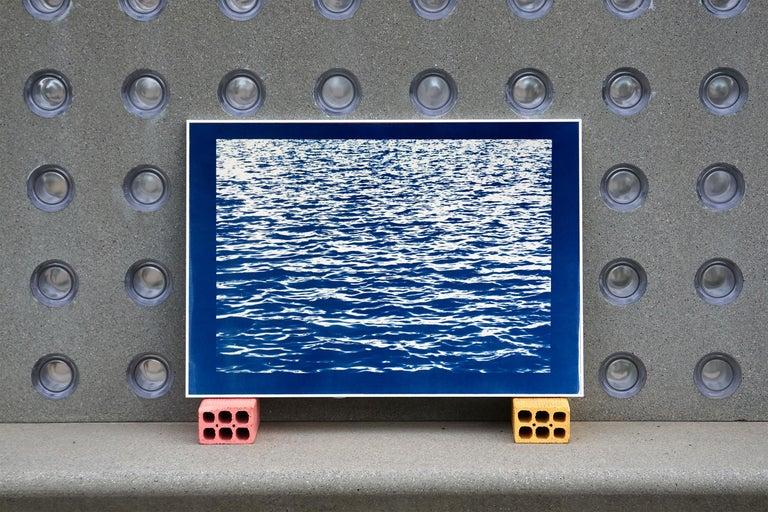 Mediterranean Blue Sea Waves, Blue Border, Cyanotype Print, 100x70cm, Handmade 2