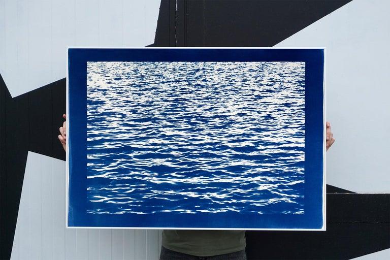 Mediterranean Blue Sea Waves, Blue Border, Cyanotype Print, 100x70cm, Handmade 3