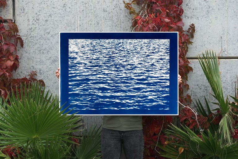 Mediterranean Blue Sea Waves, Blue Border, Cyanotype Print, 100x70cm, Handmade - Contemporary Photograph by Kind of Cyan