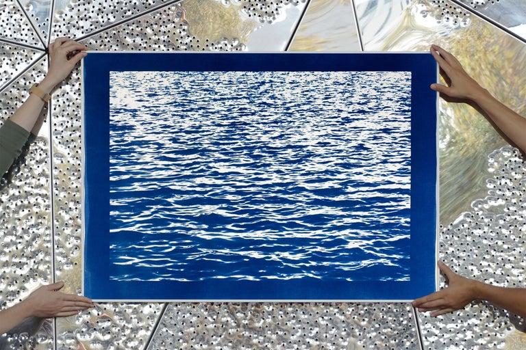Mediterranean Blue Sea Waves, Blue Border, Cyanotype Print, 100x70cm, Handmade 5