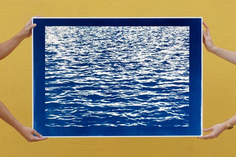 Mediterranean Blue Sea Waves, Blue Border, Cyanotype Print, 100x70cm, Handmade 4