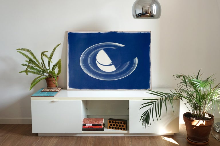 This is an exclusive handprinted limited edition cyanotype. The image shows one of the most fascinating planets of our Solar System: Saturn.  Details: + Title: Saturn With Rings + Year: 2019 + Edition Size: 50 + Stamped and Certificate of