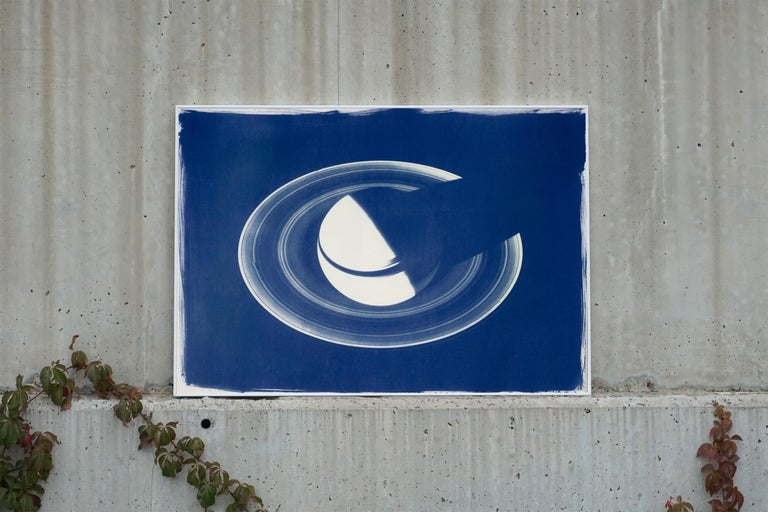 Saturn With Rings, Cyanotype on Watercolor Paper, 100x70cm, Space Art For Sale 2