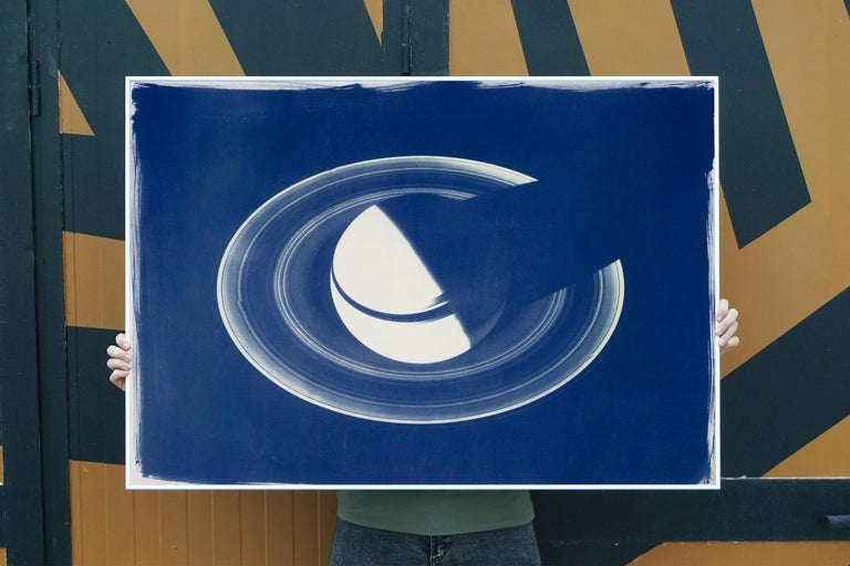 Saturn With Rings, Cyanotype on Watercolor Paper, 100x70cm, Space Art For Sale 3