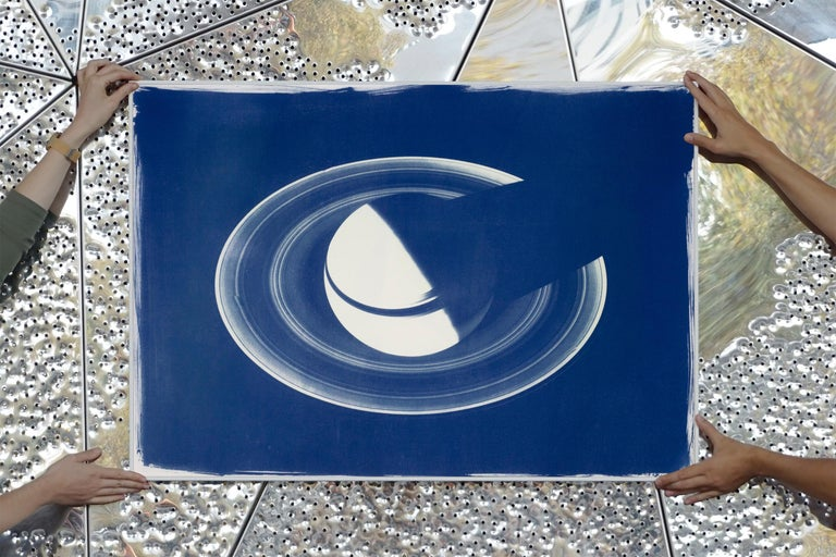 Saturn With Rings, Cyanotype on Watercolor Paper, 100x70cm, Space Art For Sale 4