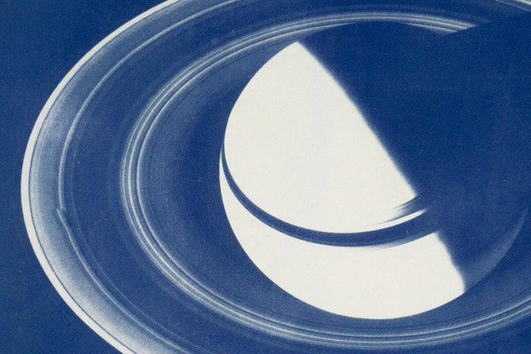 Saturn With Rings, Cyanotype on Watercolor Paper, 100x70cm, Space Art For Sale 6