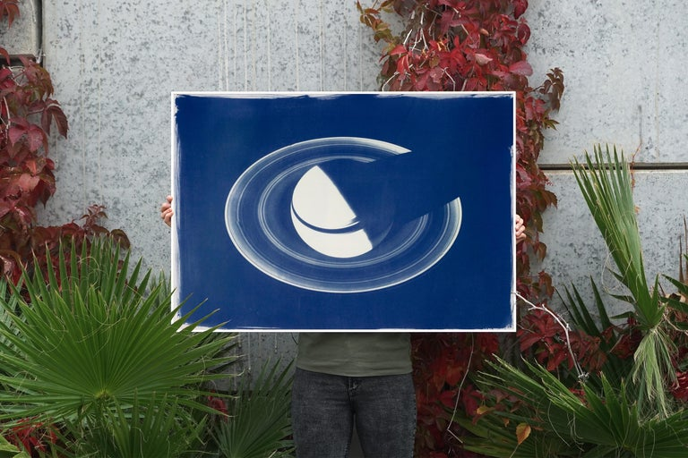 Saturn With Rings, Cyanotype on Watercolor Paper, 100x70cm, Space Art For Sale 5