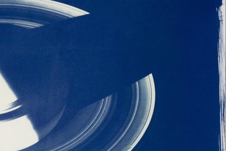 Saturn With Rings, Cyanotype on Watercolor Paper, 100x70cm, Space Art For Sale 7