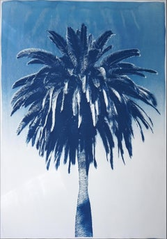 Marrakesh Majorelle Palm, Cyanotype on Watercolor Paper, 100x70cm, Tropical Art