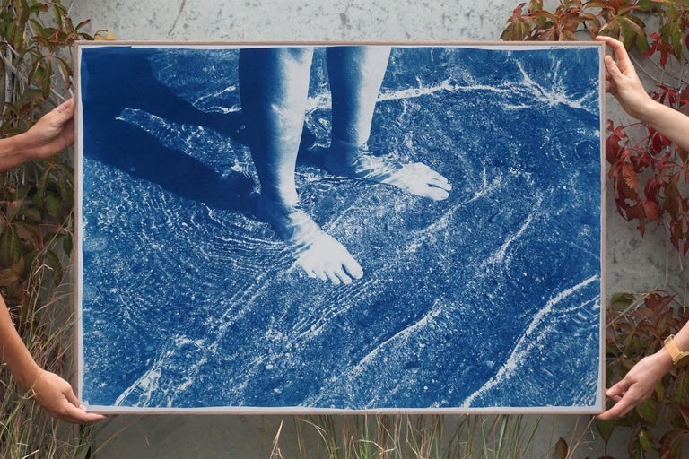 Greek Beach Bliss, Cyanotype on Watercolor Paper, 100x70cm, Beach Art, Greece - Print by Kind of Cyan
