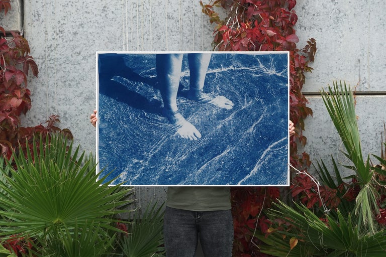 Greek Beach Bliss, Cyanotype on Watercolor Paper, 100x70cm, Beach Art, Greece For Sale 1